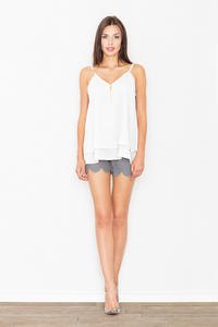 Ecru Two Layers Spaghetti Straps Top