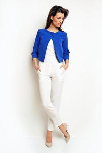 Blue One Button Short Bolero Blazer