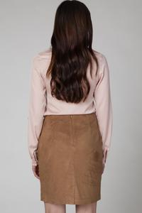 Camel Pencli Cut Mini Skirt with Fringes