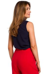 Navy Blue Sleeveless Shirt Blouse