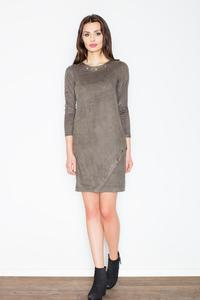 Olive Green Round Rivets Casual Dress