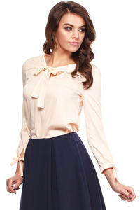Salmon Cut Out Bow tie Blouse with Long Sleeves