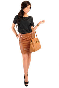 Pencil Leather Caramel Skirt with Loops for Belt