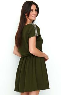 Khaki Short Boho Style Dress With Decorative Insets