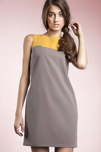 Grey Sleeveless Colour Block Panel Dress