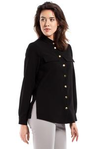 Black Stand-up Collar Casual Shirt
