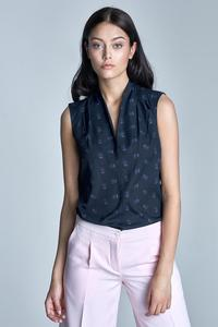 Dark Blue Delicate Pattern Sleeveless Summer Shirt