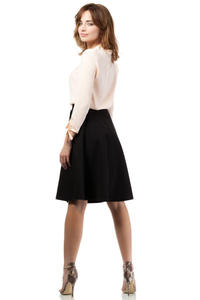 Black Flared Knee Lenght Skirt with Pockets