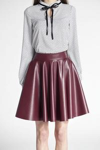 Maroon Light Pleats Faux Leather Skirt