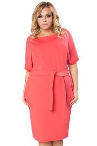 Coral Red Short Sleeves Self Tie Belt Dress PLUS SIZE