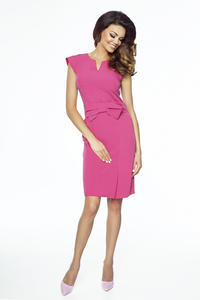 Pink Elegant Bodycon Fit Dress with Bow