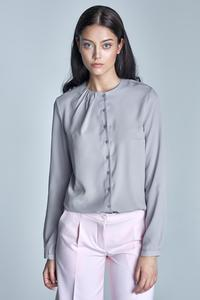 Grey Round Neckline Long Sleeved Shirt