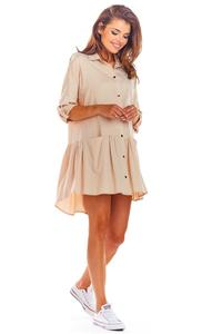 Beige Loose Shirt Dress with a frill