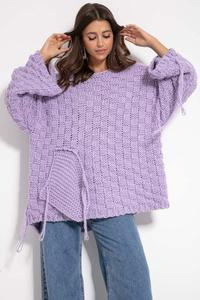 Oversize sweater with a sewn-on pocket and fringes - purple