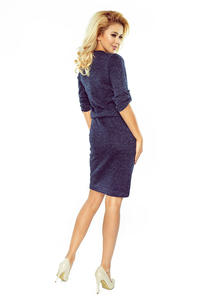 Dark Blue Melange Pencil Dress with Stand-up Collar