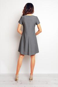 Grey Short Sleeves Flared Dress
