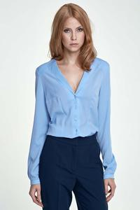 Light Blue V-Neck Elegant Office Style Shirt