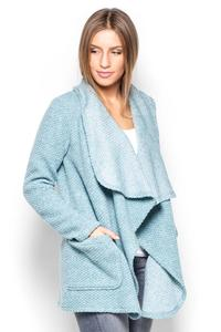 Blue Cardigan with Big Collar