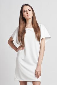 White Classic Midi Skirt with Wide Flared Short Sleeves