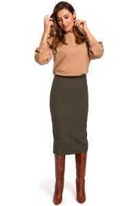 Khaki Pencil Skirt over the Knee with a cut belt