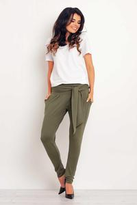 Olive Green Tapered Legs Jogger Belted Pants