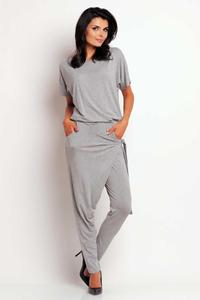 Grey Stylish Self Tie Belt Baggy Pants Jumpsuit