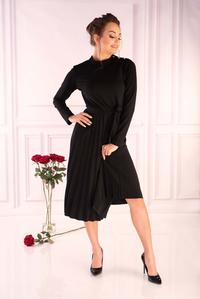 Black Pleated Dress with Built-in Neckline