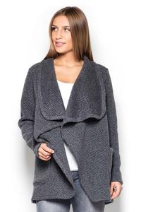 Grey Cardigan with Big Collar