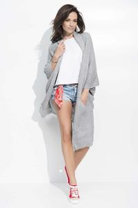 Grey Long Bat Sleeves Cape Cardigan