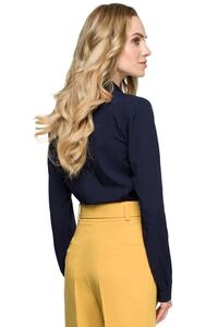 Dark Blue Elegant Blouse with Stand-up Collar