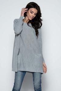 Grey Oversized Tunic with Front Pockets