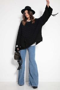 Black Oversize Sweater with Sewn-On Pocket and Fringes