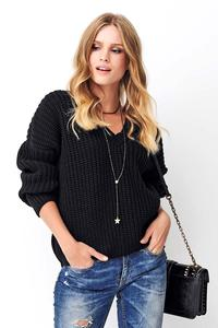 Black Classic Oversize Sweater with V-neck