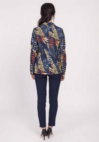 Navy Blue Classic Jacket with Tropical Leaves