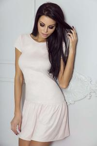 Pink Short Sleeves Mini Dress with a Frill
