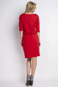 Red Casual 3/4 Sleeves Dress