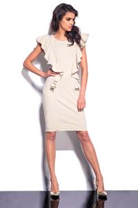 Beige Frilled Midi Dress