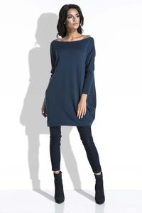Dark Blue Long Sweater with Pockets