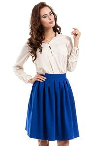 Blue Pleated Knee Length Skirt