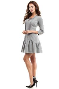 Grey Lace-up Neckline Dress