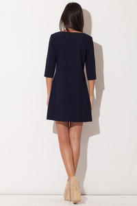 Blue Strapped Neckline Shift Dress with 3/4 Sleeves