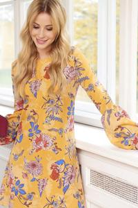 Yellow Floral Pattern Flared Dress