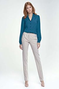 Beige Elegant Office Style Pants