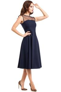 Dark Blue Evening Dress with Transparent Neckline