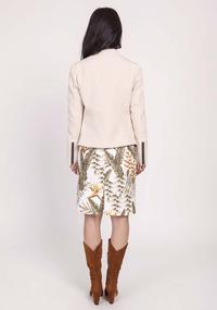 Beige Short Zipper Jacket with Stand-up Collar