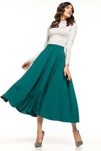Green Flared High Waist Skirt