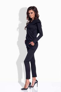 Black Slim Legs Hooded Jumpsuit