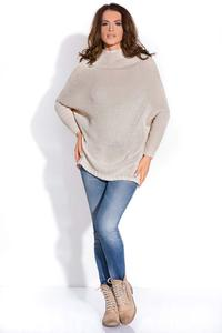 Beige Bat Sleeves Tourtleneck Sweater