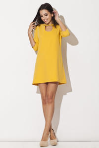 Yellow Strapped Neckline Shift Dress with 3/4 Sleeves