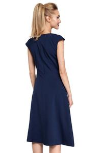 Classic Flared Navy Blue Dress With Frills